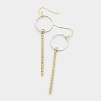 Metal Hoop Stone Trim Bar Earrings