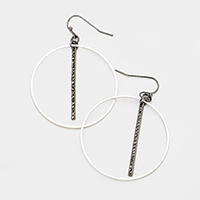 Stone Trim Bar Metal Hoop Dangle Earrings