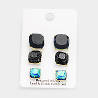 3 Pairs Mixed Square Stud Earrings