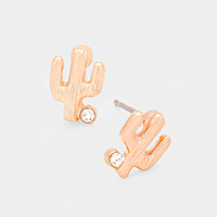 Metal Cactus Stone Stud Earrings