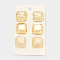 3 Pairs Mixed Metal Square Stud Earrings