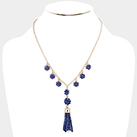 Beaded Ball Drop Beaded Tassel Necklace