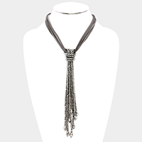Layered Suede Knotted Beaded Tassel Necklace