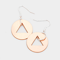 Cut Out Triangle Metal Disc Earrings