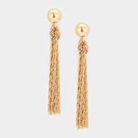 Metal Ball Knotted Metal Chain Tassel  Earrings
