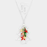 Christmas Tree Star Ornament Cluster Vine Pendant Necklace