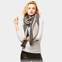 Two Tone Striped Oblong Scarf