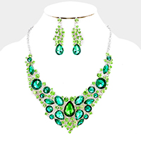 Marquise Glass Crystal Evening Necklace