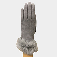 Thermal Fur Trim Touch Gloves