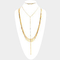 Layered Metal Bar Station Necklace