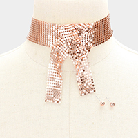 Knotted Mesh Chain Choker Necklace