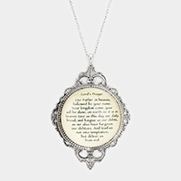 Lord's Prayer Oval Pendant Necklace