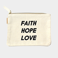 Faith Hope Love Cotton canvas eco pouch bag