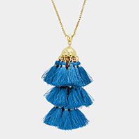 Metal Dome Layered Tassel Long Necklace