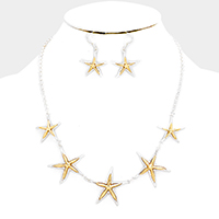 Metal Starfish Link Statement Necklace