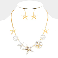 Metal Starfish Sand Dollar Link Statement Necklace