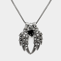 Crystal Wing Heart Bead Pendant Necklace