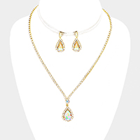Crystal Rhinestone Teardrop Stone Accented Necklace