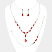 Marquise Teardrop Cluster Necklace Jewelry Set