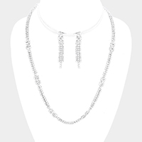 Pave Crystal Rhinestone Marquise Necklace
