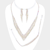 3PCS Marquise Rhinestone V Collar Necklace Jewelry Set