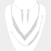 Marquise Rhinestone V Collar Necklace Jewelry Set
