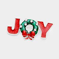 Joy Enamel Christmas Wreath Bow Pin Brooch