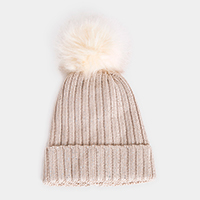 Bling Cable Knit Fur Lining Pom Pom Beanie