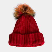 Cable Knit Fur Lining Multi Colored Pom Pom Beanie