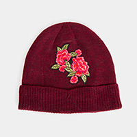 Floral Embroidered Fur Lining Beanie