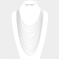Multi Layered Ball Chain Bib Necklace