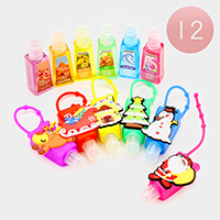 12 PCS Christmas Theme Silicone Hand Sanitizer Holder