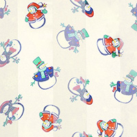 Satin Striped Snowman Print Scarf