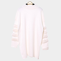 Oversized Wool Sweater Rabbit Fur Trim Top