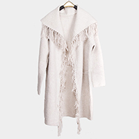 Lurex Knit Sweater Fringes Pockets Poncho