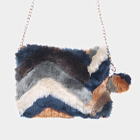 Zigzag Patterned Faux Fur Pom Pom Clutch Bag