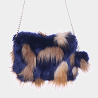 Patterned Faux Fur Pom Pom Clutch Bag