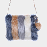 Striped Faux Fur Pom Pom Clutch Bag