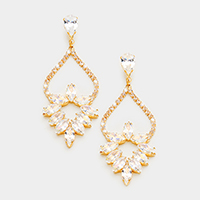 Marquise Cubic Zirconia Chandelier Evening Earrings