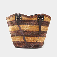Striped Straw Tote Bag