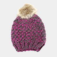 Two Tone Cable Knit Pom Pom Beanie