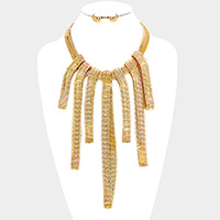 Flat Snake Chain Fringe Bib Necklace