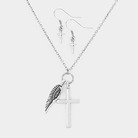 Metal Cross Embossed Metal Wing Pendants Necklace