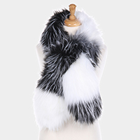Two Tone Faux Fur Pull Through Scarf