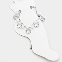 Stone Trim Hoop Pearl Dangle Station Anklet