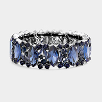 Marquise Glass Stone Evening Stretch Bracelet
