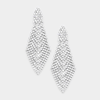Marquise Rhinestone Chevron Evening Earrings