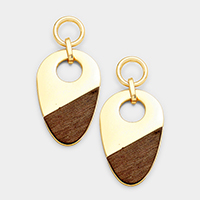 Wood Metal Teardrop Shaped Dangle Earrings