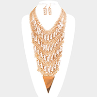 Layered Chain Rectangular Bead Bib Statement Necklace