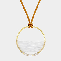 Suede Wire Wrapped Hoop Pendant Long Necklace